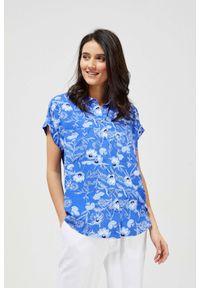 MOODO - Koszula z wiskozy z krótkim rękawem. Materiał: wiskoza. Długość rękawa: krótki rękaw. Długość: krótkie. Wzór: kwiaty