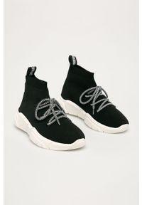 Czarne buty sportowe Love Moschino z cholewką, na sznurówki, z okrągłym noskiem, na średnim obcasie