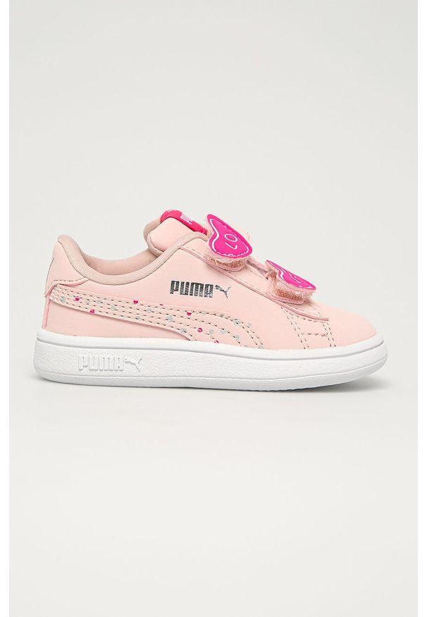 Różowe buty sportowe Puma z okrągłym noskiem, z cholewką