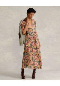 Ralph Lauren - RALPH LAUREN - Sukienka midi z nadrukiem. Typ kołnierza: polo. Kolor: zielony. Materiał: materiał. Wzór: nadruk. Sezon: jesień. Długość: midi