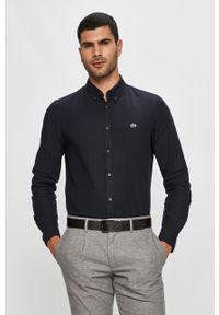 Niebieska koszula Lacoste z aplikacjami, button down, casualowa, na co dzień