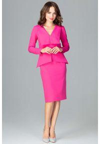 Katrus - Fuksja Wizytowa Sukienka z Asymetryczna Baskinką. Kolor: różowy. Materiał: wiskoza, poliester. Typ sukienki: baskinki, asymetryczne. Styl: wizytowy
