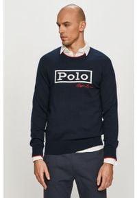 Niebieski sweter Polo Ralph Lauren polo, długi, z aplikacjami, z długim rękawem