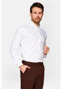 Lancerto - Koszula Biała Almansa. Kolor: biały. Materiał: bawełna, jeans, tkanina, wełna. Wzór: ze splotem, nadruk