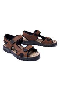 Brązowe sandały Rieker na rzepy