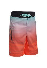 OLAIAN - Spodenki Surfing Bs 500L Offshore Dla Dzieci. Kolor: wielokolorowy, żółty, pomarańczowy. Materiał: materiał, poliester. Długość: długie