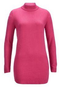 Różowy sweter bonprix ze stójką