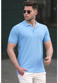 Niebieski t-shirt IVET polo, casualowy, na co dzień