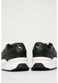 Czarne sneakersy Puma z okrągłym noskiem, na sznurówki, z cholewką
