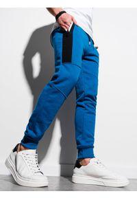 Ombre Clothing - Spodnie męskie dresowe joggery P903 - niebieskie - XXL. Kolor: niebieski. Materiał: dresówka