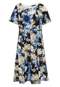 Sukienka z nadrukiem bonprix niebiesko-czarny wzorzysty. Kolor: niebieski. Długość rękawa: krótki rękaw. Wzór: nadruk