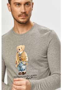 Szara koszulka z długim rękawem Polo Ralph Lauren polo, z nadrukiem