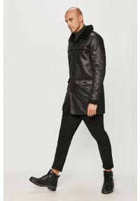 Czarny płaszcz Brave Soul bez kaptura, na co dzień, casualowy