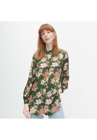 Brązowa koszula Reserved długa, w kwiaty