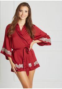 Saintmiss - Peniuar japoński // Grâce - Uniwersalny, Czerwony. Kolor: czerwony. Materiał: satyna, materiał, koronka. Długość: krótkie. Wzór: koronka
