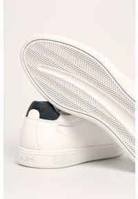 Białe sneakersy Aldo z okrągłym noskiem, z cholewką, na sznurówki