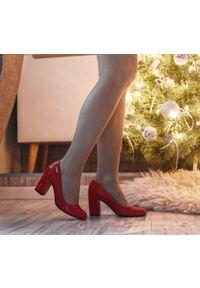 Czerwone czółenka Zapato z okrągłym noskiem, na wesele, na lato, eleganckie