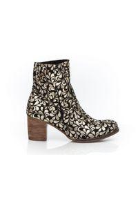 Złote botki Zapato w kwiaty, z cholewką, na co dzień, eleganckie