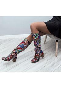 Kozaki Zapato wąskie, na jesień, w kolorowe wzory, z cholewką