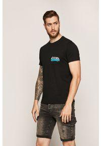 Czarny t-shirt medicine z nadrukiem, z okrągłym kołnierzem, retro