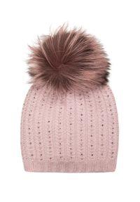 Różowa czapka William Sharp z aplikacjami, elegancka, na zimę