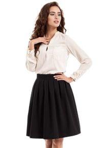 MOE - Czarna Spódnica Midi z Plisowaniami. Kolor: czarny. Materiał: wiskoza, poliester, elastan