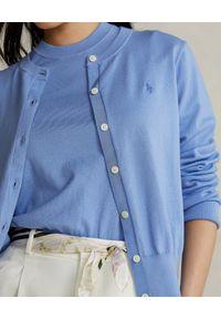 Ralph Lauren - RALPH LAUREN - Niebieski kardigan Straight fit. Typ kołnierza: polo. Kolor: niebieski. Materiał: bawełna, tkanina