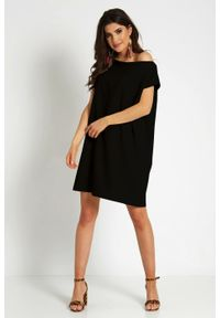 e-margeritka - Sukienka trapezowa odsłaniająca ramiona - 38. Materiał: materiał, poliester. Typ sukienki: trapezowe. Styl: elegancki. Długość: mini