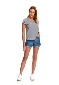 DRYWASH - T-shirt damski w drobne paseczki z plisą na plecach. Okazja: na co dzień. Typ kołnierza: dekolt w serek. Kolor: niebieski. Materiał: bawełna. Sezon: wiosna, lato. Styl: wakacyjny, casual