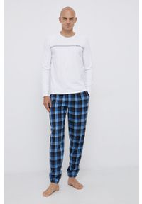 BOSS - Boss - Piżama. Kolor: niebieski. Materiał: bawełna, dzianina, tkanina