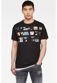 Czarny t-shirt G-Star RAW z nadrukiem, na co dzień