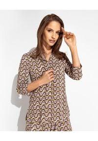 MALIPARMI - Brązowa wzorzysta koszula. Okazja: na spotkanie biznesowe, do pracy. Kolor: brązowy. Materiał: elastan, wiskoza, tkanina, materiał. Styl: klasyczny, biznesowy