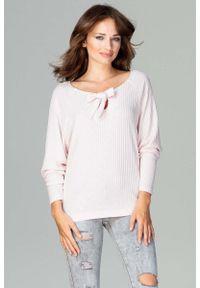 Różowa bluzka z długim rękawem Katrus w prążki