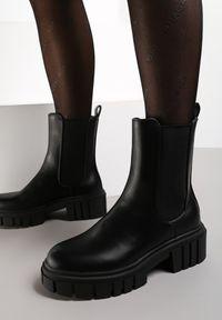 Renee - Czarne Botki Acheis. Kolor: czarny. Materiał: dzianina, guma. Szerokość cholewki: normalna. Obcas: na obcasie