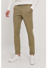 Oliwkowe spodnie Selected gładkie