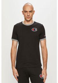Czarny t-shirt Champion z aplikacjami, casualowy, na co dzień
