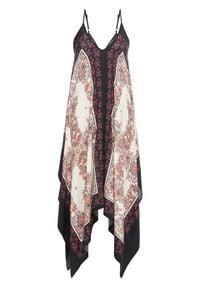 Sukienka midi z dłuższymi bokami bonprix czerwono-czarno-kremowy paisley. Kolor: czerwony. Długość rękawa: na ramiączkach. Wzór: paisley. Styl: elegancki. Długość: midi