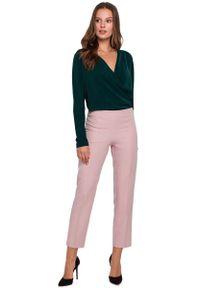 MAKEOVER - Różowe Nowoczesne Spodnie Cygaretki na Gumie. Kolor: różowy. Materiał: guma