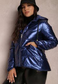 Renee - Granatowa Kurtka Alcike. Kolor: niebieski. Materiał: tkanina. Wzór: geometria, aplikacja