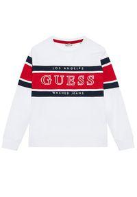 Biały t-shirt Guess z długim rękawem