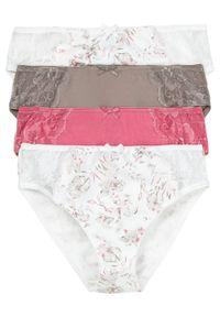 Figi maxi z koronką (4 pary) bonprix biały w kwiaty + brunatny + pastelowy jasnoróżowy. Kolor: biały. Materiał: koronka. Wzór: koronka, kwiaty