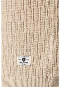 Beżowy sweter Jack & Jones casualowy, na co dzień, z długim rękawem, długi