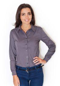 Szara bluzka koszulowa Katrus z długim rękawem, elegancka, długa