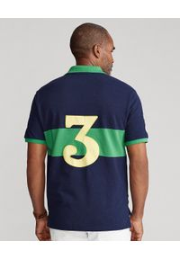 Ralph Lauren - RALPH LAUREN - Granatowo-zielona koszulka polo Custom Slim FIt. Typ kołnierza: polo. Kolor: niebieski. Materiał: bawełna. Długość: długie. Wzór: haft, aplikacja. Styl: sportowy #6