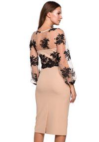 Makover - Wieczorowa ekskluzywna ołówkowa sukienka z koronką. Okazja: na ślub cywilny, na wesele, na imprezę. Typ kołnierza: dekolt gorset. Materiał: koronka. Wzór: koronka. Typ sukienki: ołówkowe. Styl: wizytowy #2