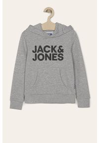 Szara bluza Jack & Jones z nadrukiem, z kapturem