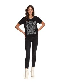 Czarny t-shirt TOP SECRET z nadrukiem