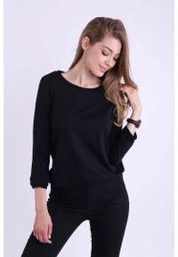 Czarna bluzka z długim rękawem Nommo długa, casualowa, na co dzień