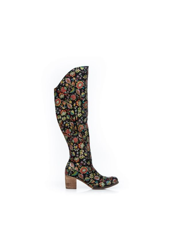 Czarny kozaki Zapato wąskie, w kolorowe wzory