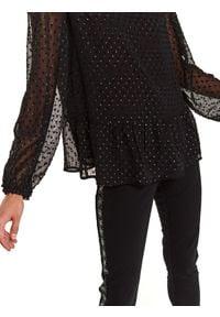 TOP SECRET - Bluzka z tkaniny plumeti z baskinką. Okazja: do pracy, na imprezę. Kolor: czarny. Materiał: tkanina. Długość: długie. Sezon: wiosna. Styl: elegancki #5
